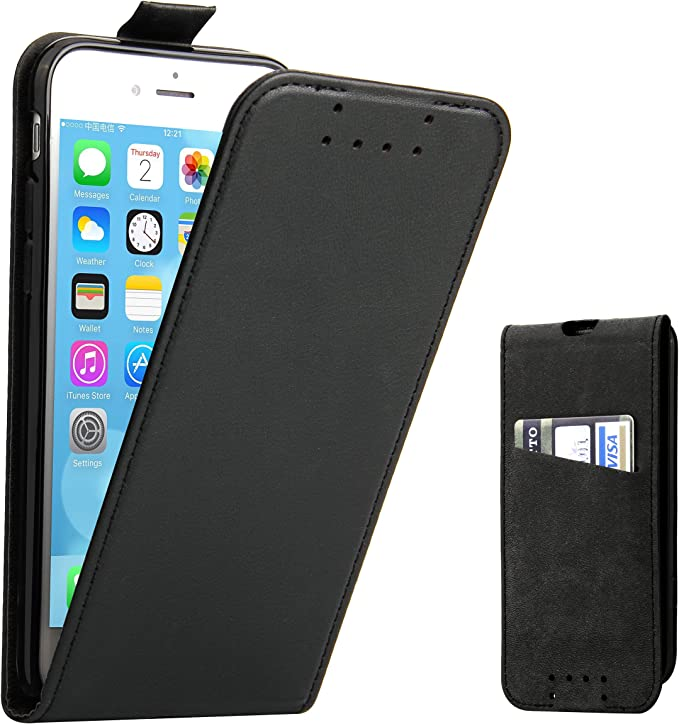 Supad Coque iPhone 7, Coque iPhone 8, Etui à Rabat Protecteur en Cuir véritable pour Apple iPhone 7/8 4,7 (Noir)