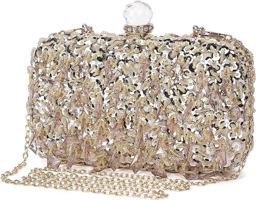 Details about  /luxury crystal clutch Bridal purse handbag AB Gold Silver Rose Black Gray