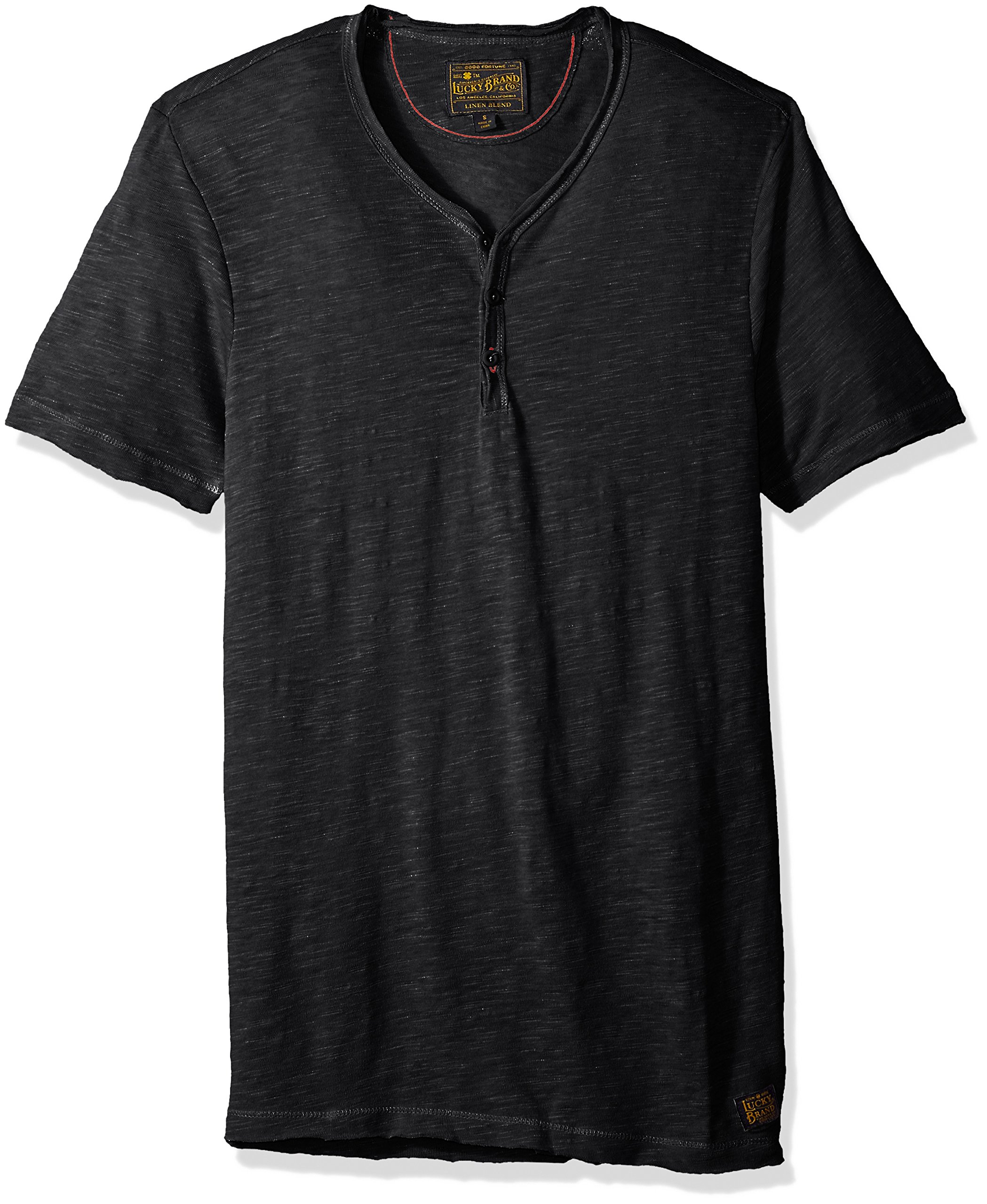 Lucky Brand Men's Raw Edge Y Neck Henley Shirt, Charcoal Heather, L