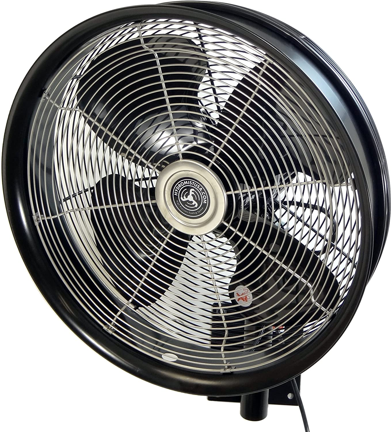 HydroMist F10-14-011 18-inch Shrouded Outdoor Wall Mount Oscillating Fan, 3 Speed On Cord, 0.15 HP, 1.05 Amps, Black