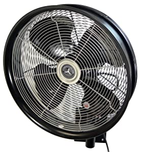 "HydroMist F10-14-011 18"" Shrouded Outdoor Wall Mount Oscillating Fan, 3 Speed On Cord, 0.15 HP, 1.05 Amps, Black"