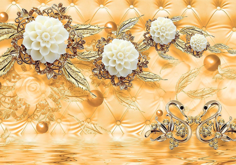 Wandmotiv24 Fototapete Blaumen Gold Diamanten Luxuriös Rot Gold Kugeln Kugeln Kugeln Swan Wasser Polster M1971 XL 350 x 245 cm - 7 Teile Wandbild - Motivtapete B07KLZ3S3D Wandtattoos & Wandbilder d618fe