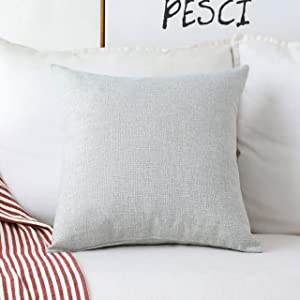 Home Brilliant Decorative Lined Linen Euro Sham Throw Pillow Cover for Couch Sofa, 20x20(50cm), Light Grey