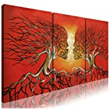 Amazon Price History for:Ode-Rin Art - Modern Abstract Lovers Tree 3 Pieces Wall Art Red Framed Giclee Canvas Prints for Living Room Home Decor, Ready to Hang - 36x16 Inch