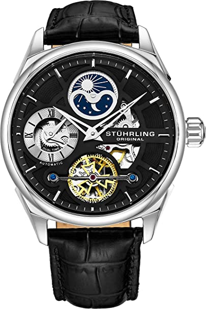 Stuhrling Original Men's 657.02 Delphi Stainless Steel Automatic Self-Wind Dual Time AM/ PM Indicator Watch With Black Leather Band Watches at amazon