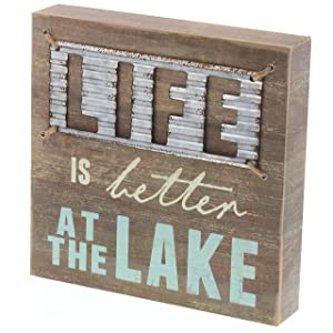 "Barnyard Designs Life is Better at The Lake Box Sign Decorative Rustic Wood Lake House Cabin Home Wall Decor 8"" x 8"""