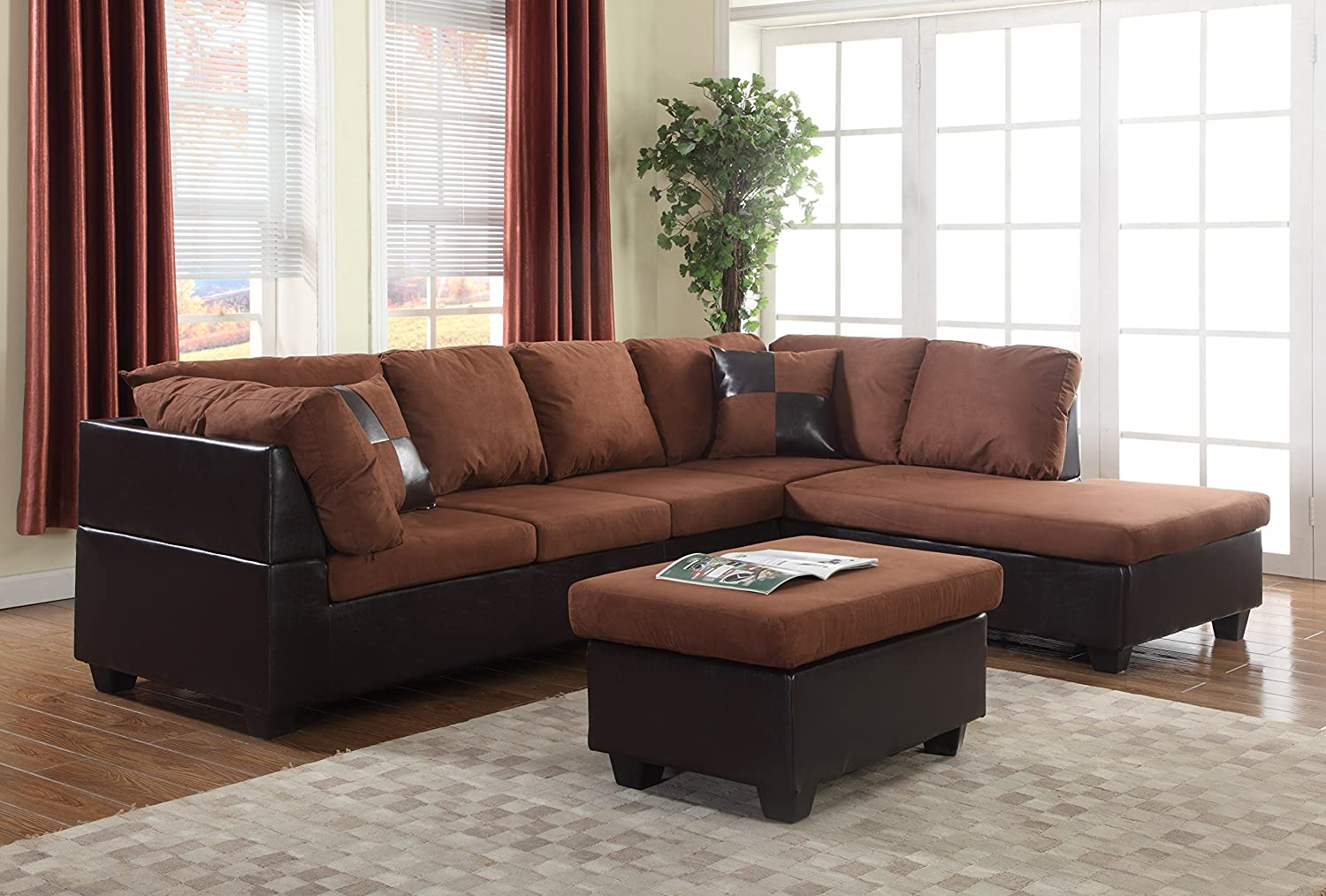 Amazon com gtu furniture microfiber sectional couch sofa living room set 3 color available with ottoman chocolate kitchen dining