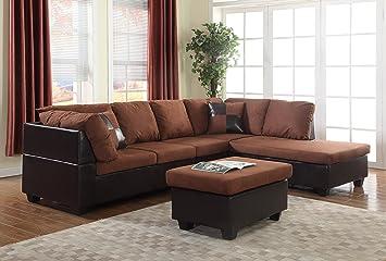 Amazoncom Gtu Furniture Microfiber Sectional Couch Sofa Living