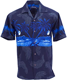 dbda37428 Tropical Luau Beach Novelty Beer Bottle Print Men's Hawaiian Aloha ...