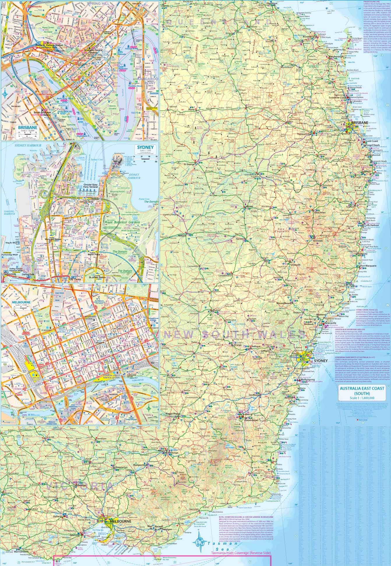 East Coast Australia Map Detailed.Australia East Coast Travel Reference Map Itmb Publishing