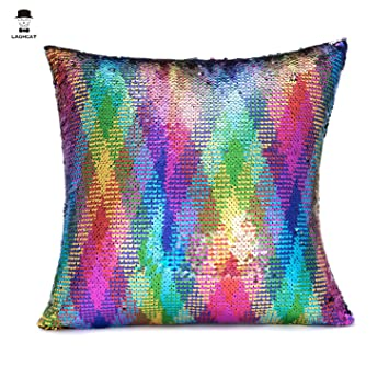 laghcat reversible cushion covers christmas sequins mermaid pillow cases with magic mermaid sequin colorful and