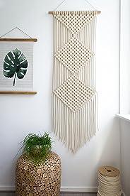 Macrame Woven Wall Hanging Triple diamond mesh - BOHO Shabby Chic Bohemian Wall Decor - Apartment Dorm Living Room Bedroom Baby Nursery Art, 21