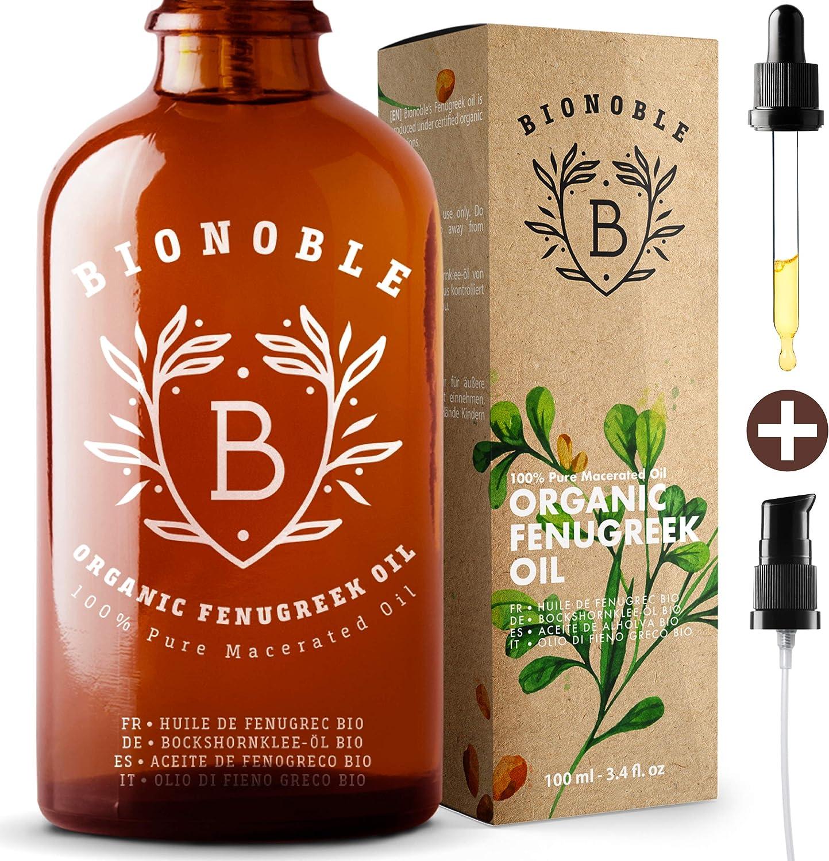 BIONOBLE ACEITE DE FENOGRECO 100% Orgánico | Macerado de Semilla de Fenogreco y Aceite de Semilla de Girasol | Bomba, Pipeta, Botella de Vidrio | Aumento de Pecho, Reafirmante Senos, Cabello (100ml)