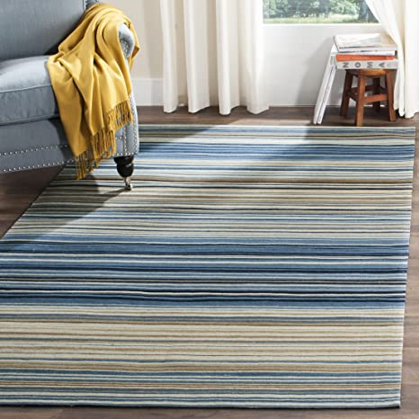 Safavieh Marbella Collection MRB289A Flat Weave Blue and Multi Wool Area Rug (9 x 12)