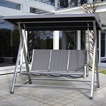 Genial MWH Hollywood Balancelle Swing Kedline Cadre En Aluminium Argenté Textile  Anthracite 879314