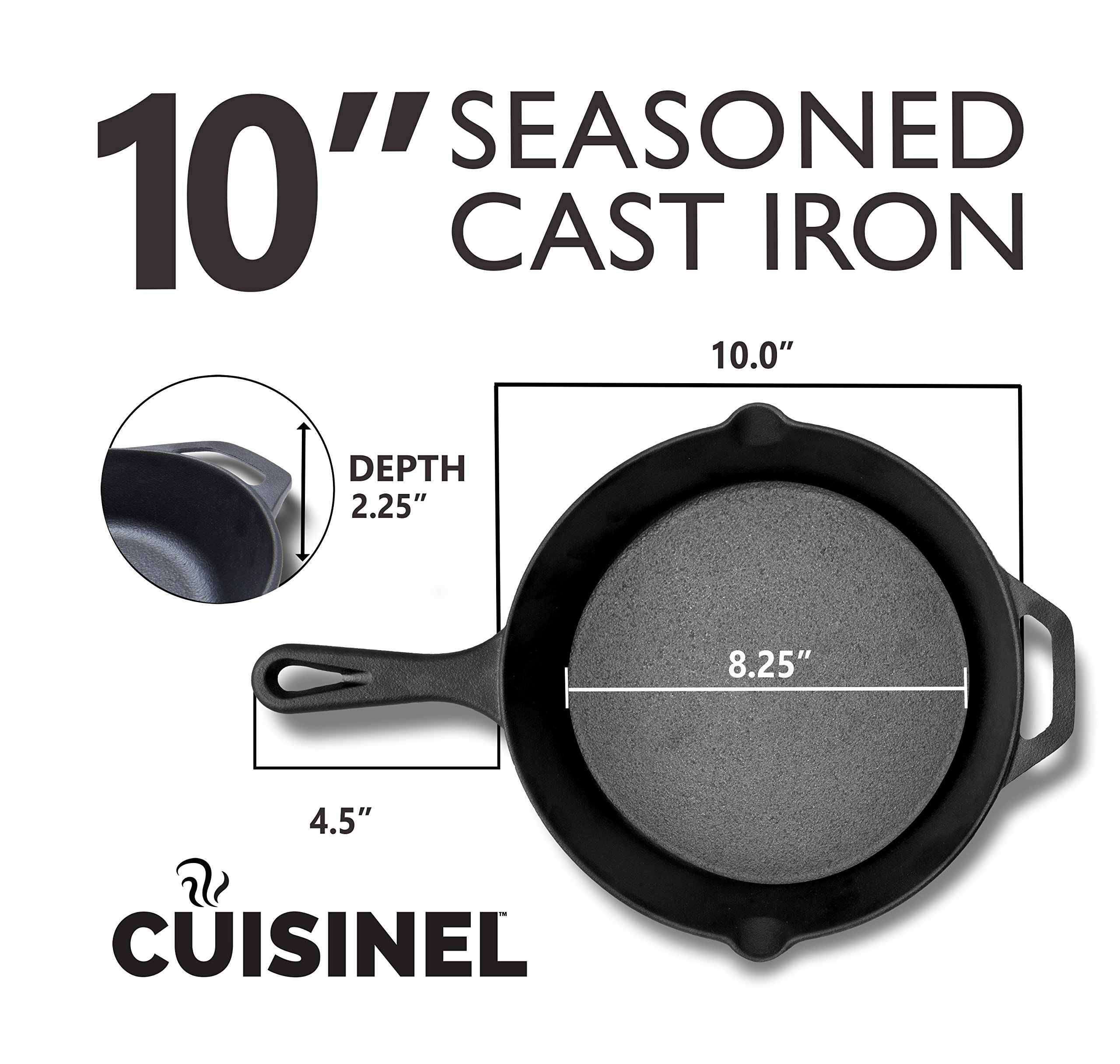 Pre-Seasoned Cast Iron Skillet 2-Piece Set (10-Inch and 12-Inch) Oven Safe Cookware | 2 Heat-Resistant Holders | Indoor and Outdoor Use | Grill, Stovetop, Induction Safe by cuisinel (Image #4)