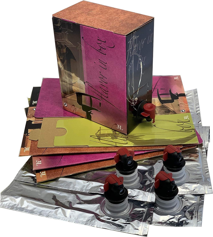 Bag IN Box Bolsa con Grifo en Caja para Vino, Leche, zumos, Aceite, etc. (Pack 5 Unidades) (15L): Amazon.es: Hogar