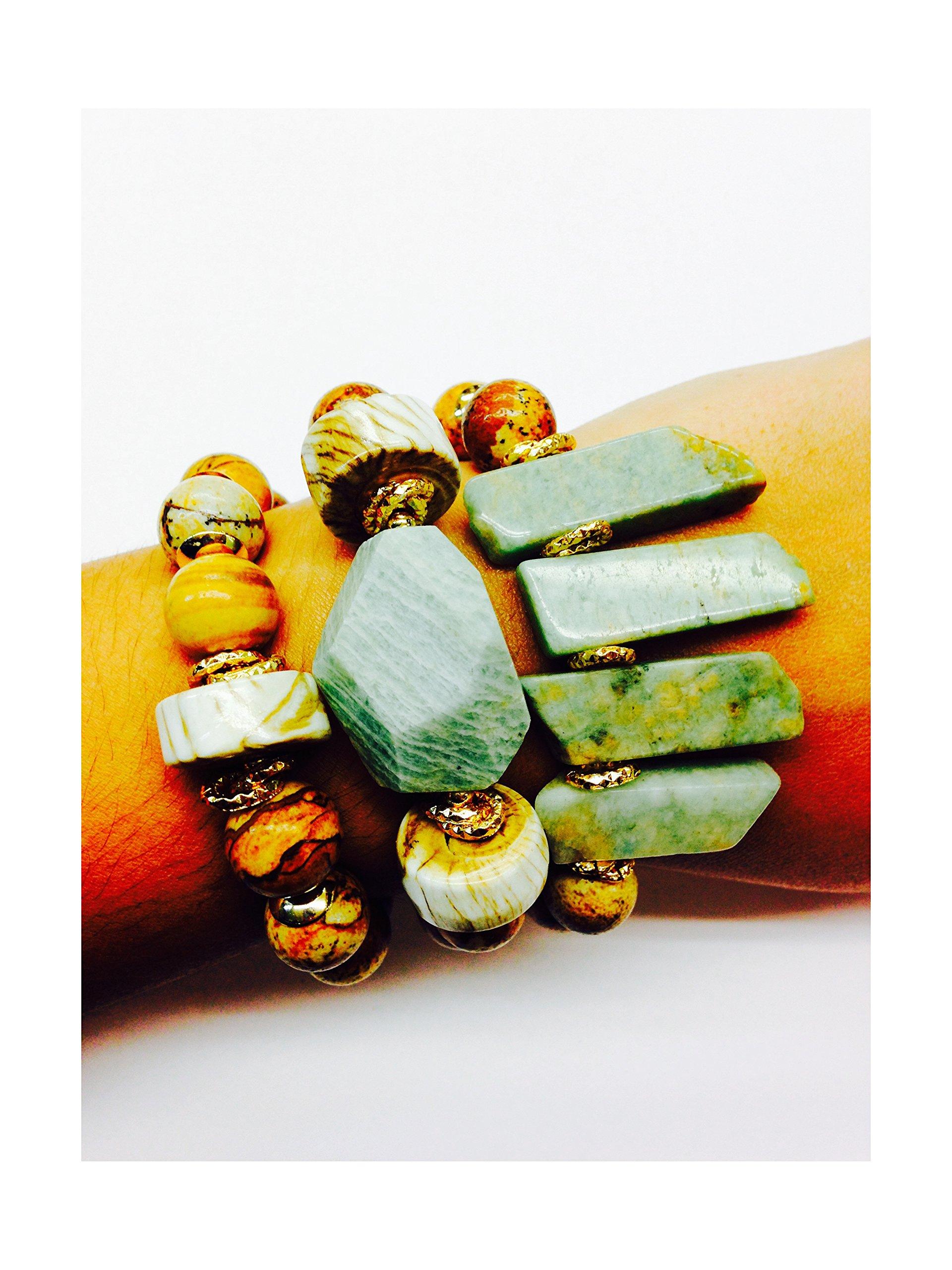 Set of 3 Handmade Bracelets - Jasper, Amazonite Tusks, Whole Shell & Giant Amazonite Natural Stones & Goldfilled Beads by Formula Moda