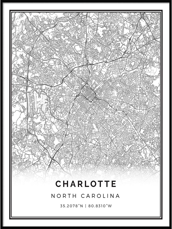Squareious Charlotte map Poster Print | Modern Black and White Wall Art | Scandinavian Home Decor | North Carolina City Prints Artwork | Fine Art Posters 16x20