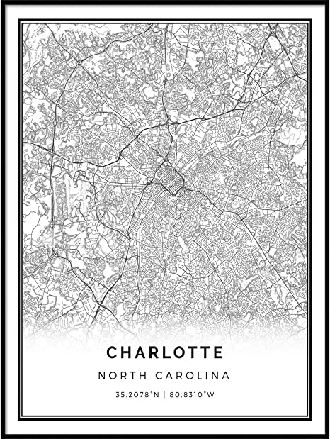 Charlotte Map Poster Print Wall Art Modern North Carolina Gift for Home and Office