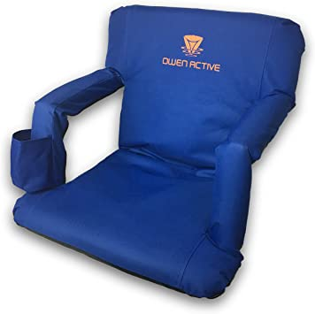 Blue Owen Active Bleacher and Stadium Cushioned Seats with Reclining Back and Drink Holder Great for The Beach and Camping Too