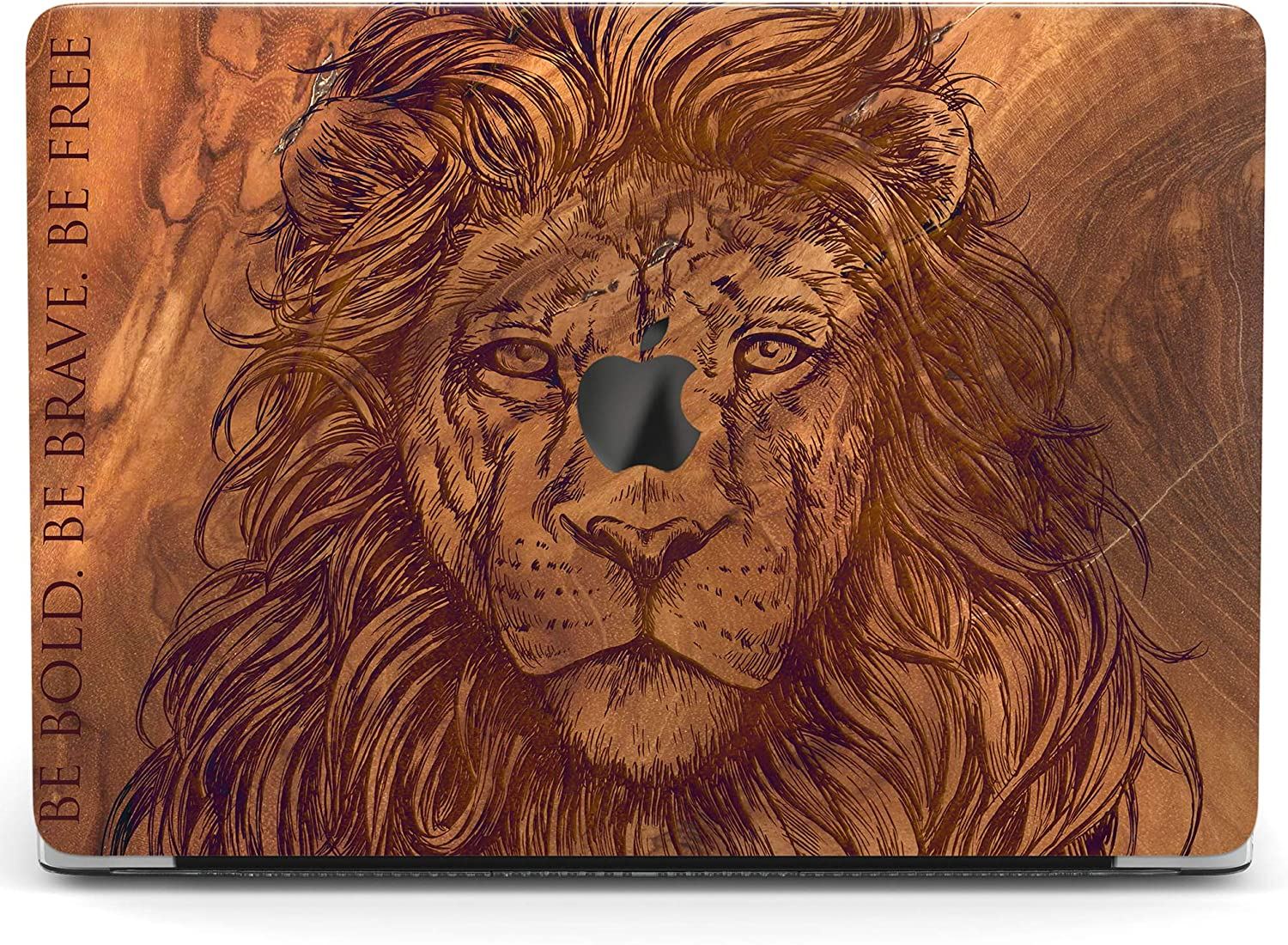 Wonder Wild Case for MacBook Air 13 inch Pro 15 2019 2018 Retina 12 11 Apple Hard Mac Protective Cover Touch Bar 2017 2016 2020 Plastic Laptop Print Boho Lion Wooden Animal Saying Brown Nature Quote