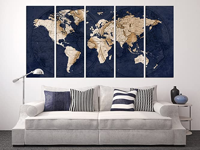Amazon Com Navy Blue World Map Canvas Art Large Wall Art Print