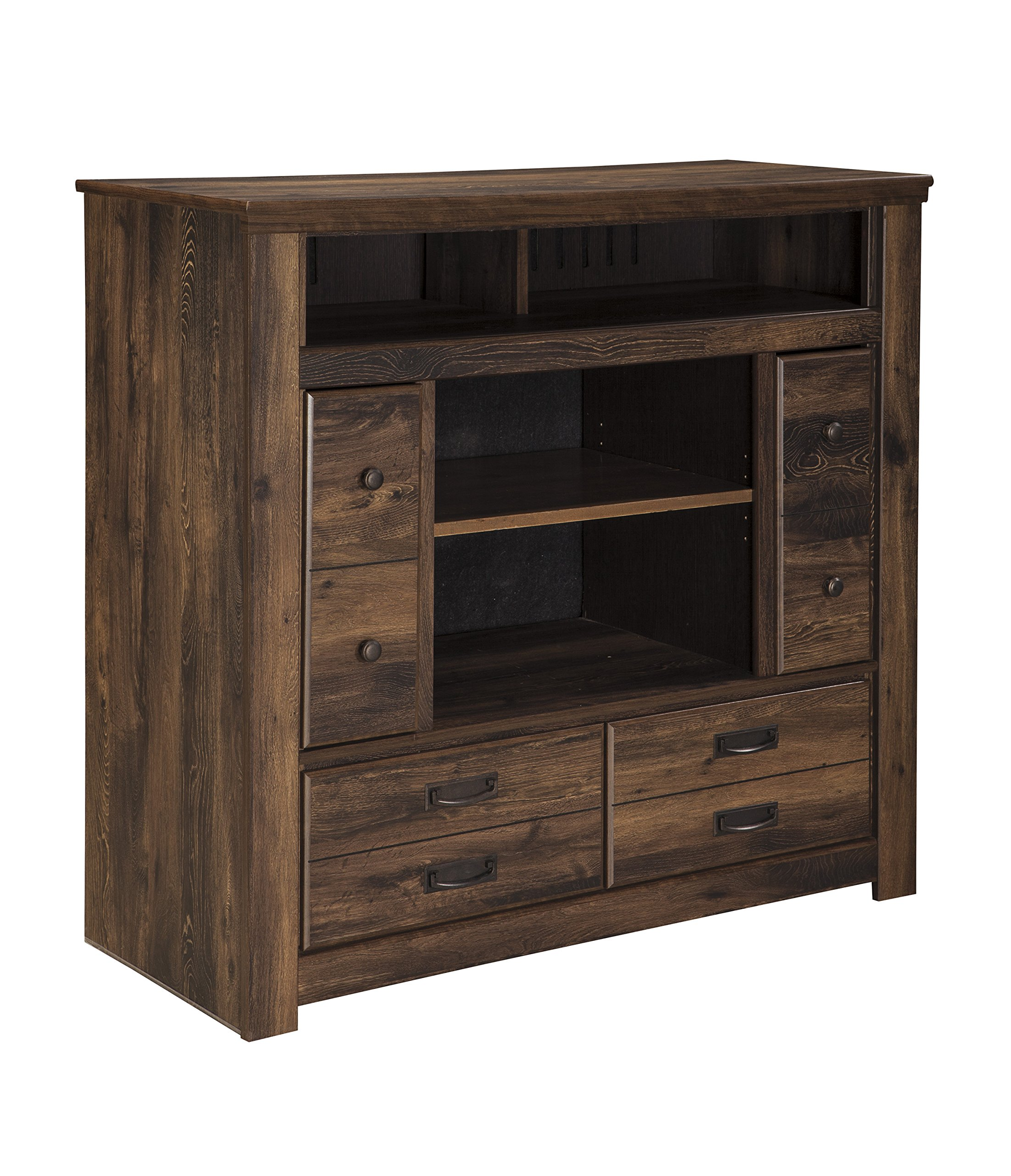 Ashley Furniture Signature Design - Quinden Media Chest - 2 Cabinets and 2 Drawers - Vintage Casual - Dark Brown