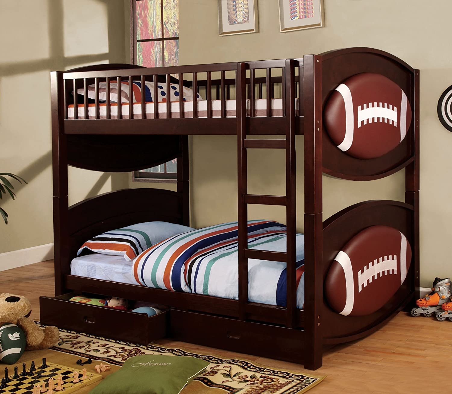 Amazoncom Furniture Of America Baseball Bunk Bed With 2Drawers