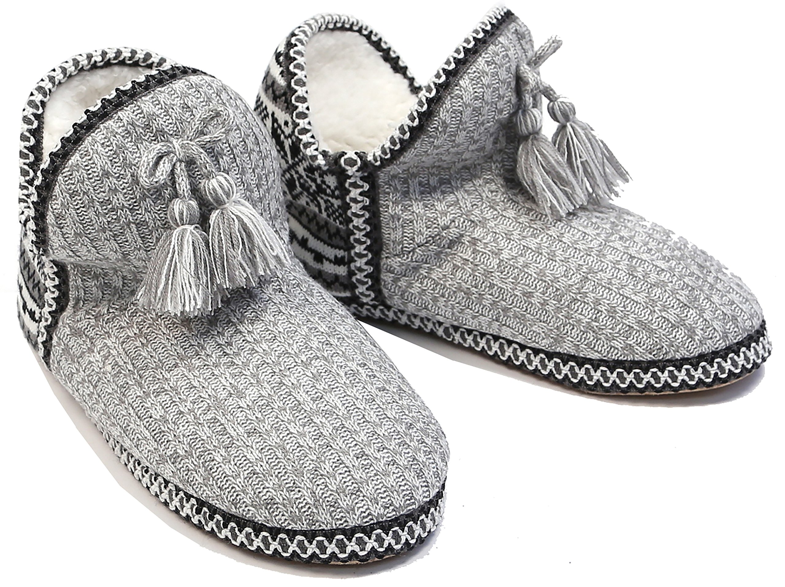 MIRMARU Women's Woven Fuzzy Plush Lining with Anti-Slip Sole Indoor House Slipper Shoe(Light Grey,SM)