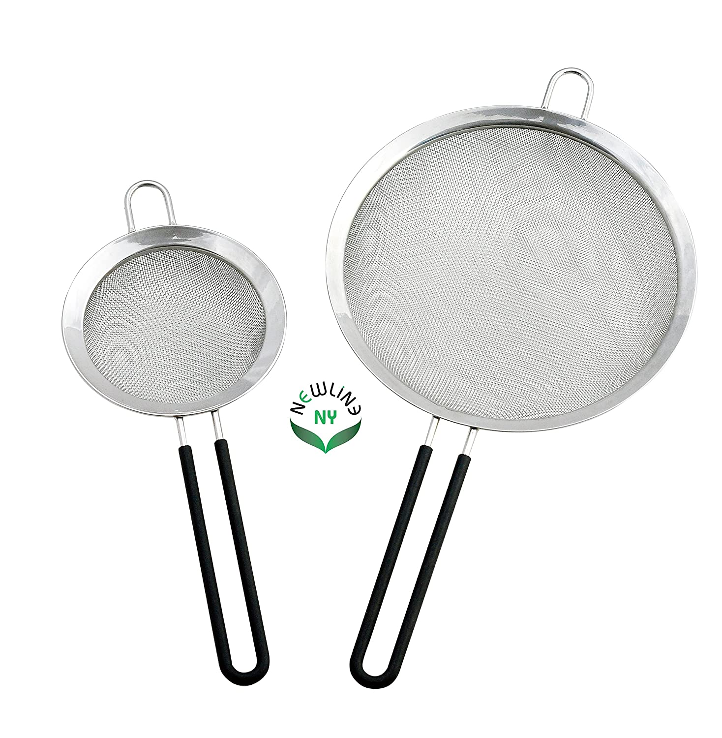 NewlineNY Stainless Steel Premium Mesh Strainers with Non-Slip Silicone Handles, Excellent for Straining Quinoa, Rice, Fruit, Vegetables, Pasta, Nut Milk and similar, 5 & 8 2 Sizes Set NY-MS2S-16B0901D