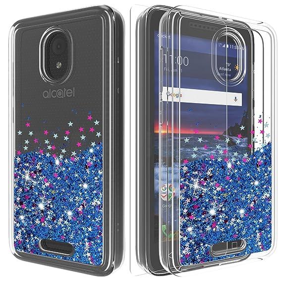Alcatel idealXCITE Case,Alcatel 5044R Case,Alcatel CameoX Case with HD  Screen Protector,Ayoo Teen Girls Women Bling Liquid Luxury Glitter Sparkle  Soft