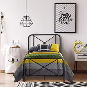 Hillsdale Furniture Metal Bed with Double X Design Platform, Twin, Black