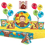 """Curious George Party Supplies Pack Serves 16: 9"""" Plates Luncheon Napkins Cups Table Cover Balloons and Cake Topper with Candl"""