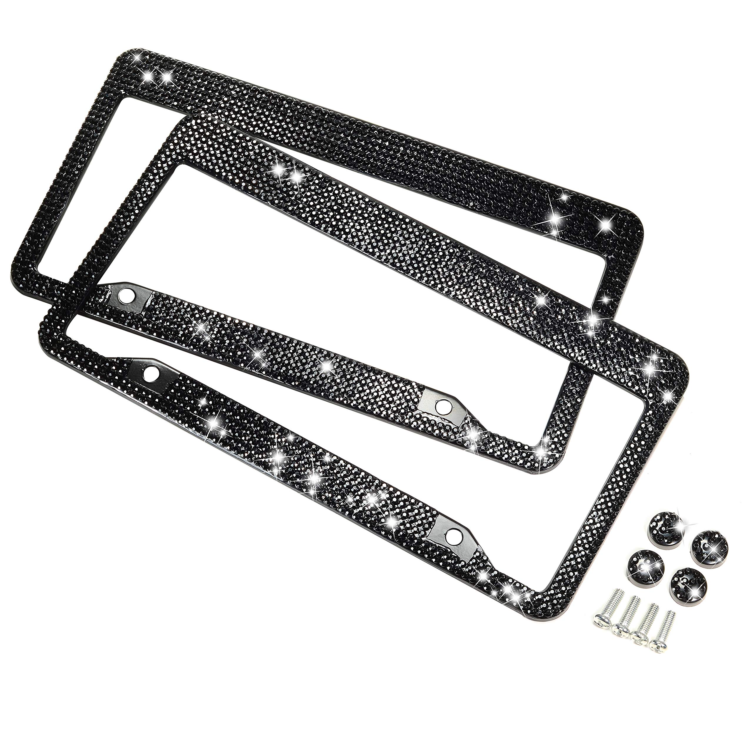 H C Hippo Creation 2 Pack Handcrafted Black Bling Crystal Premium Stainless Steel License Plate Frame