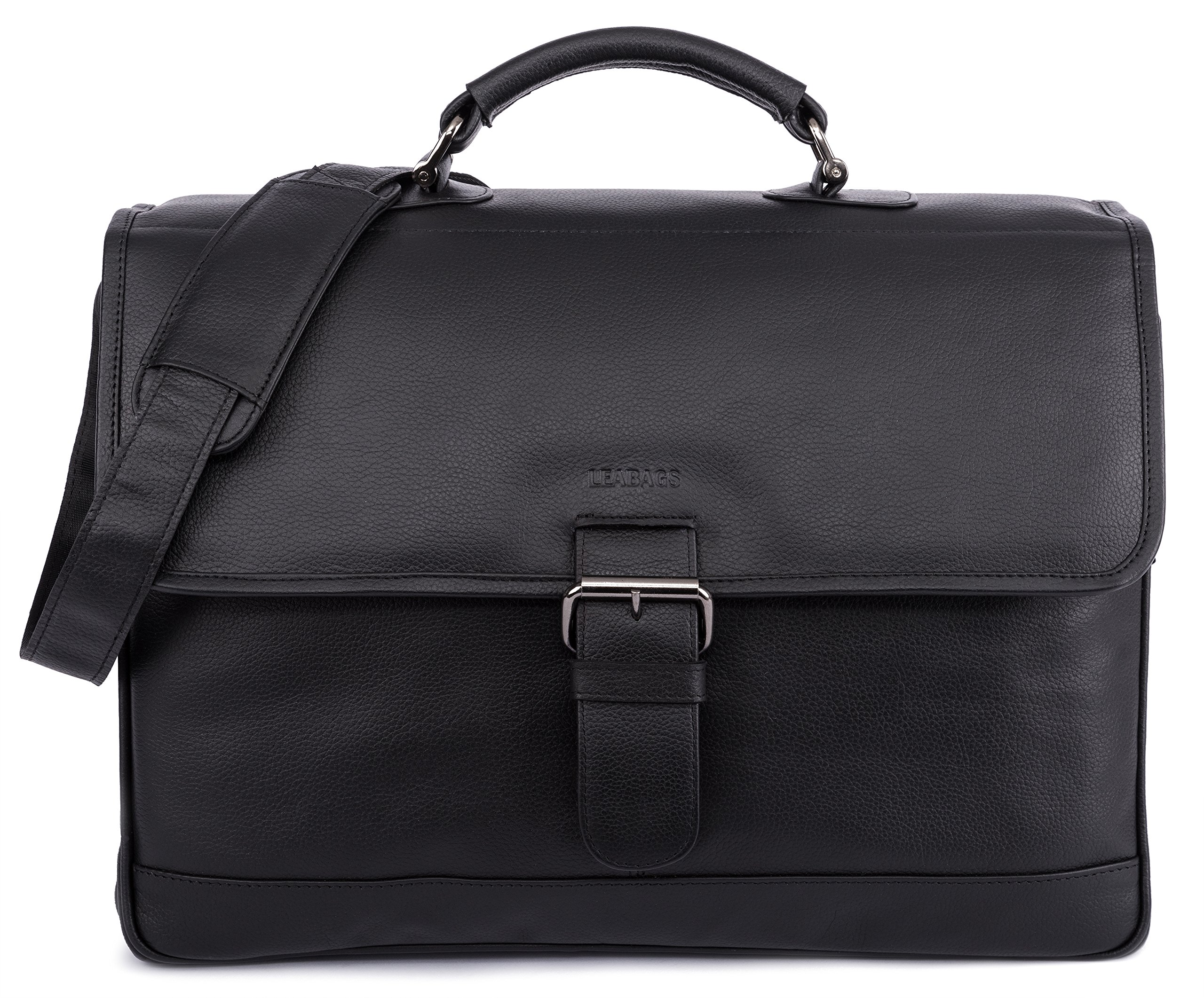 LEABAGS Orlando genuine buffalo leather briefcase in vintage style (OnyxBlack)