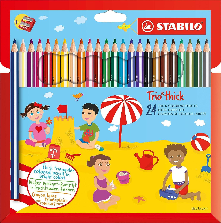 STABILO Trio Maxi matita colorata colori assortiti con Temperino - Astuccio da 24 203/2-24