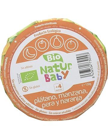 Natur Baby Puré Ecológico de Plátano, Manzana, Pera y Naranja para Bebé - Paquete