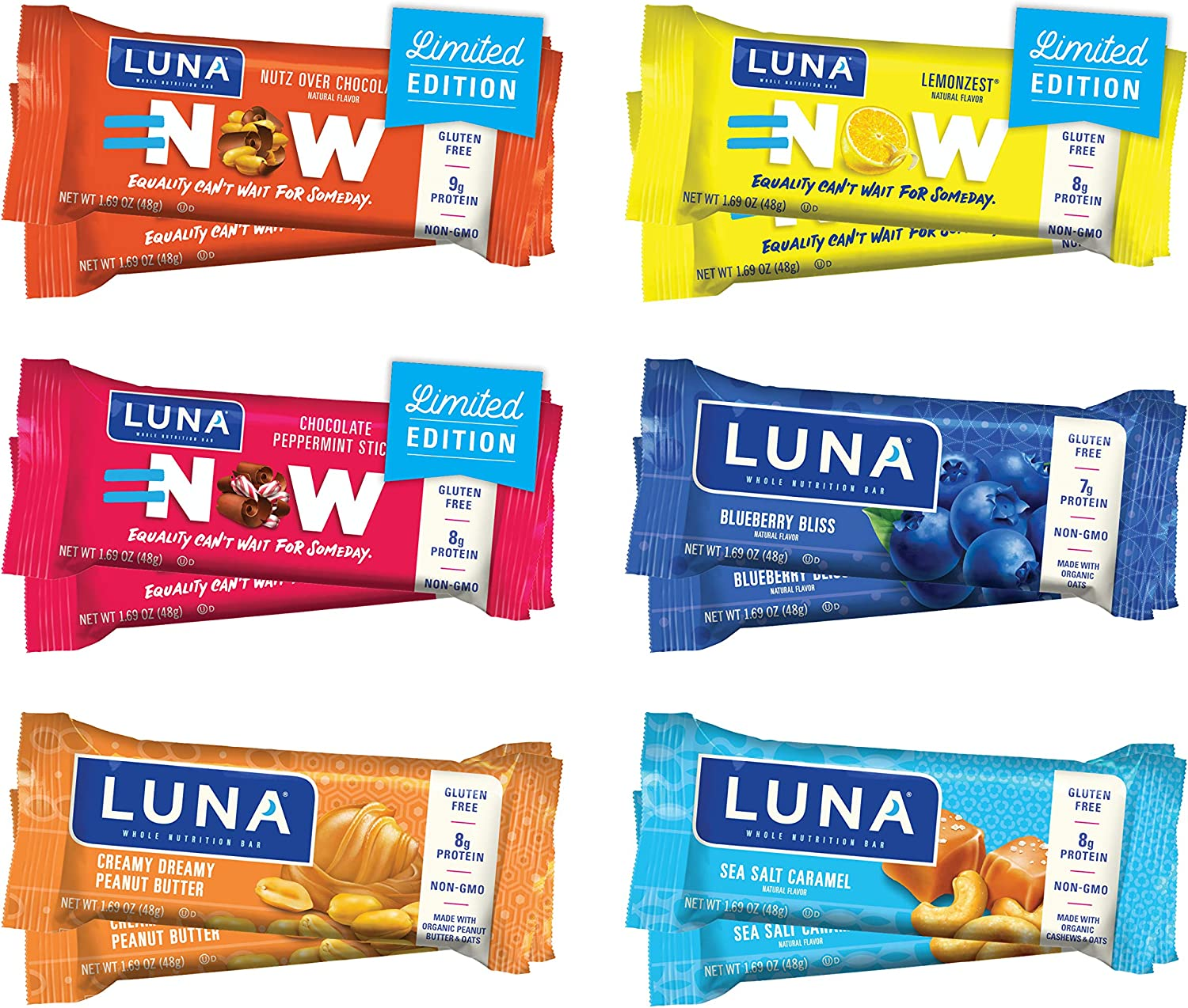Luna BAR - Gluten Free Bars - Variety Pack - Flavors May Vary (1.69 Ounce Snack Bars, 12 Count)