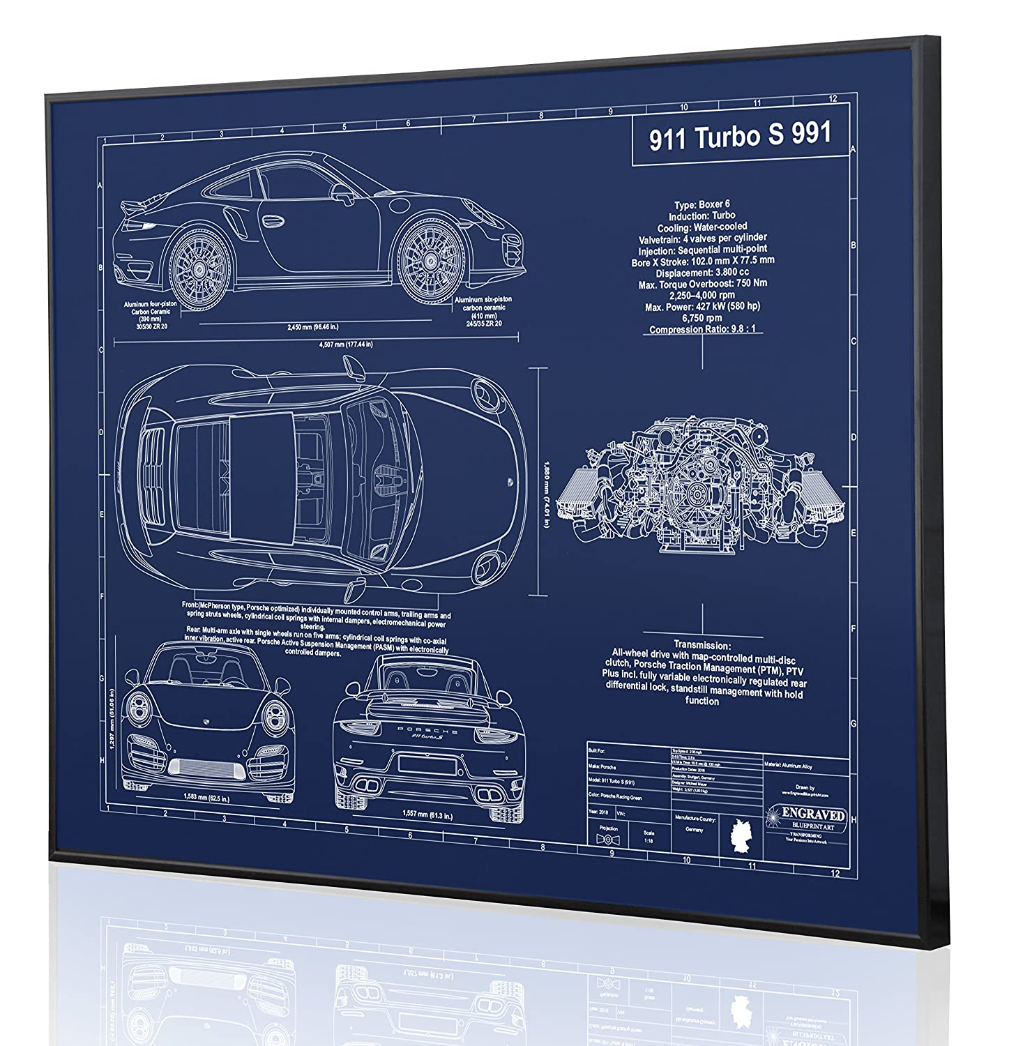 Amazon.com: Porsche 991 911 Turbo S Blueprint Artwork-Laser Marked & Personalized-The Perfect Porsche Gifts: Handmade