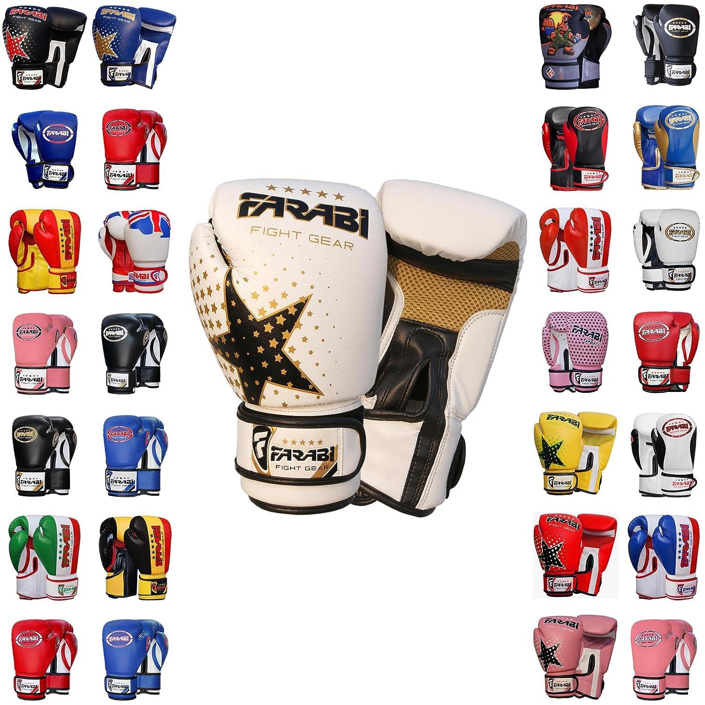 Farabi Boxing Gloves Kids Junior Muay Thai Kick Boxing Training MMA Punching Gloves