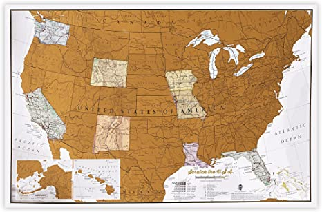 Scratch USA Travel Sized map - Scratch Off Places You Travel United States  map - America - Detailed Cartography - US States - National Parks - 17 (w)  ...