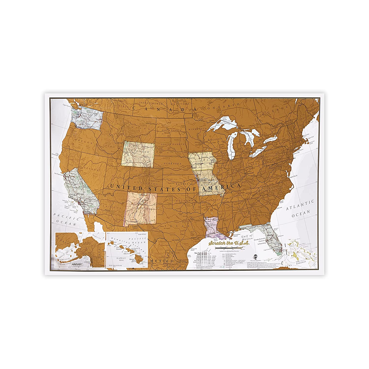 Scratch USA - Scratch off places you travel map - America (US) - Detailed cartography - US States - National Parks - 34 (w) x 22 (h) inches Maps International CT1213-FBM