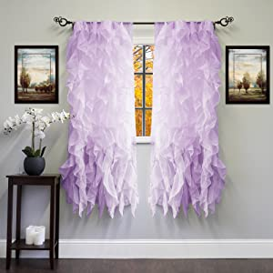 "Sweet Home Collection Sheer Voile Vertical Ruffled Window Curtain Panel 50"" x 63"", 63"" x 50"", Lavender, 2 Piece"