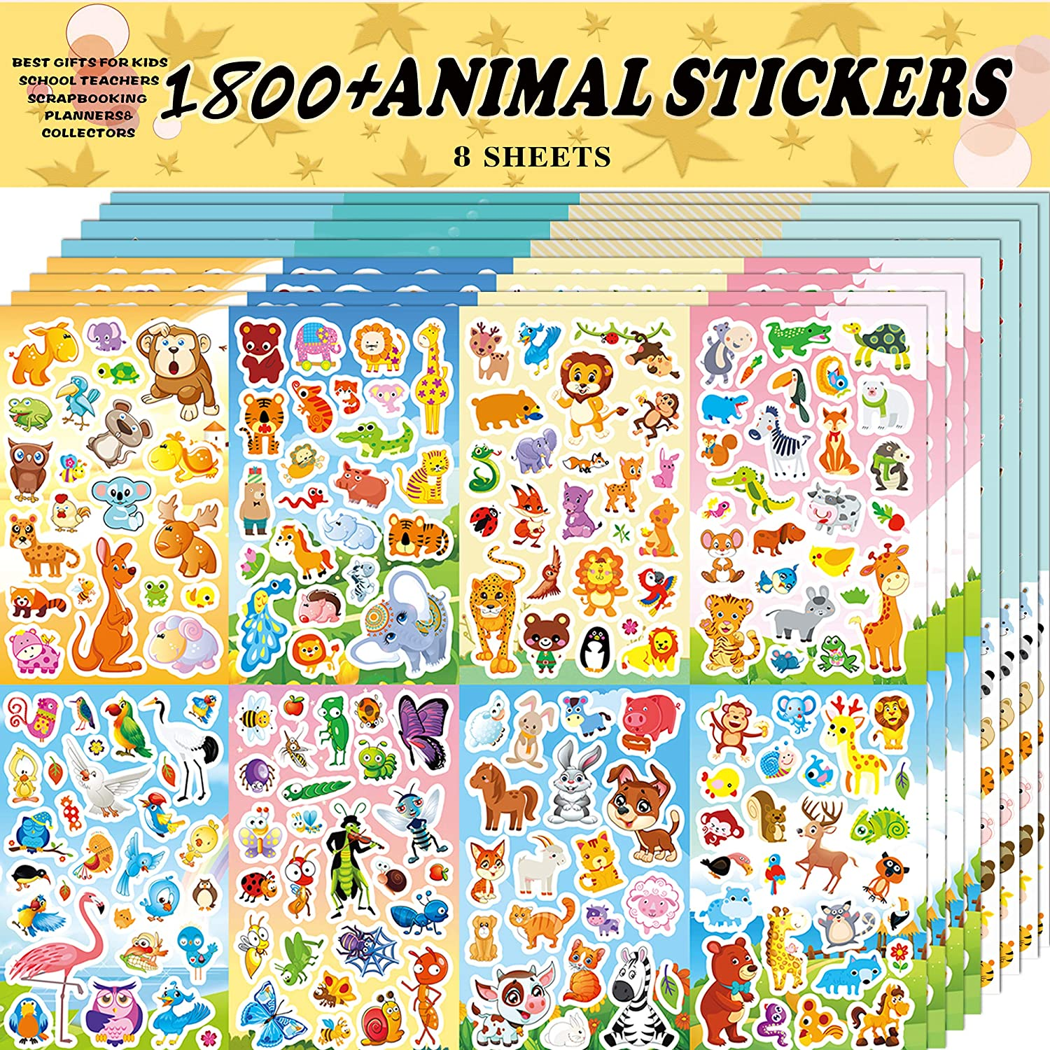 Sinceroduct Animal Stickers Assortment Set, 8 Sheets (1800+ Count), 2 Different Styles 16 Themes Collection for Kids,Children, Teacher, Parent, Grandparent, Animals of The World Sticker Variety Pack