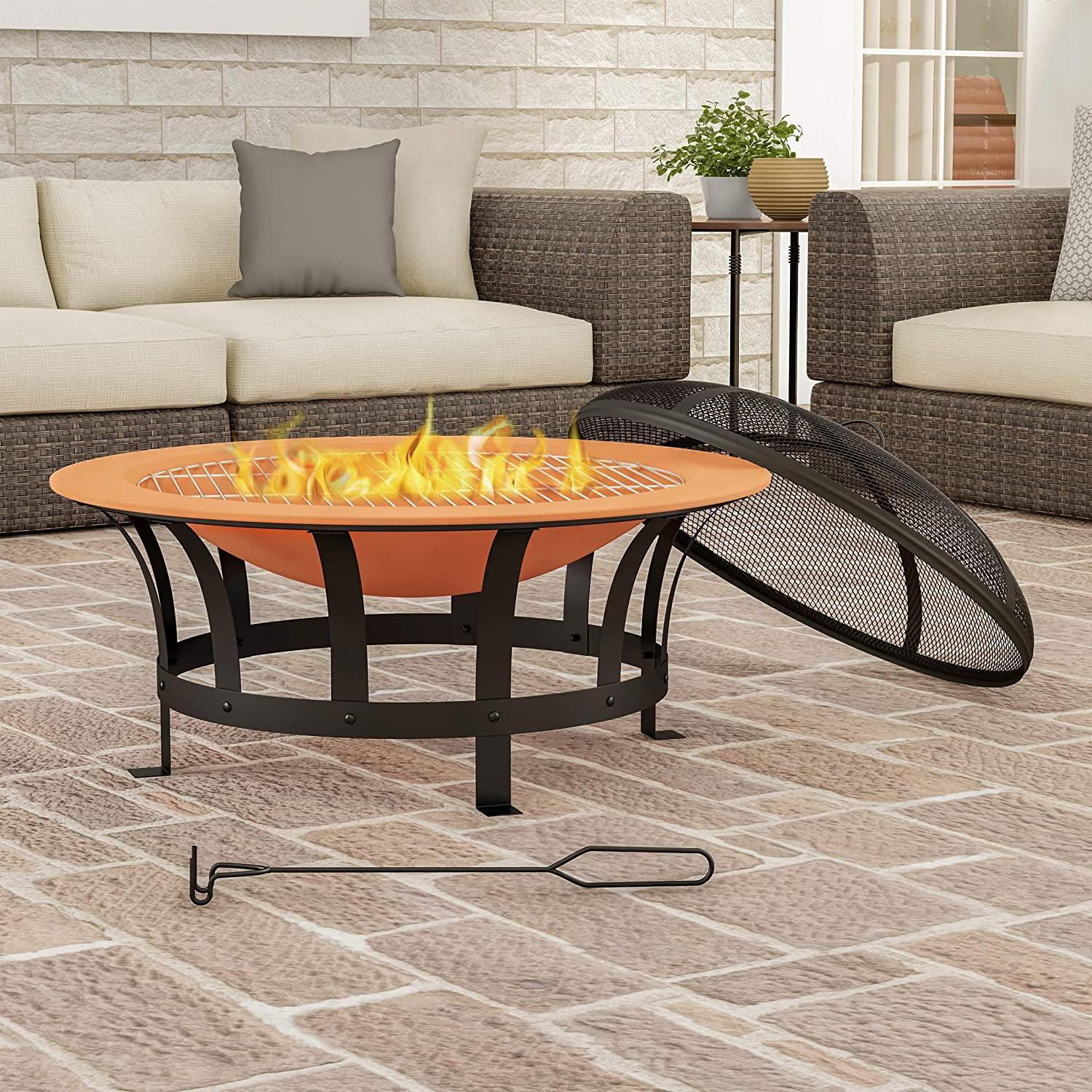 "Pure Garden 50-LG1204 Round Large Copper Colored Steel Bowl, Mesh Spark Screen, Log Poker & Grilling Grate 30"" Outdoor Deep Fire Pit, Brown"
