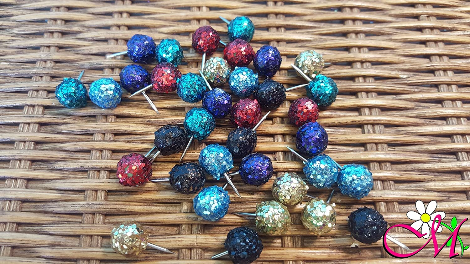 Glitter Decorated Round Thumbtacks, Set of 20, (Your Choice of Color)
