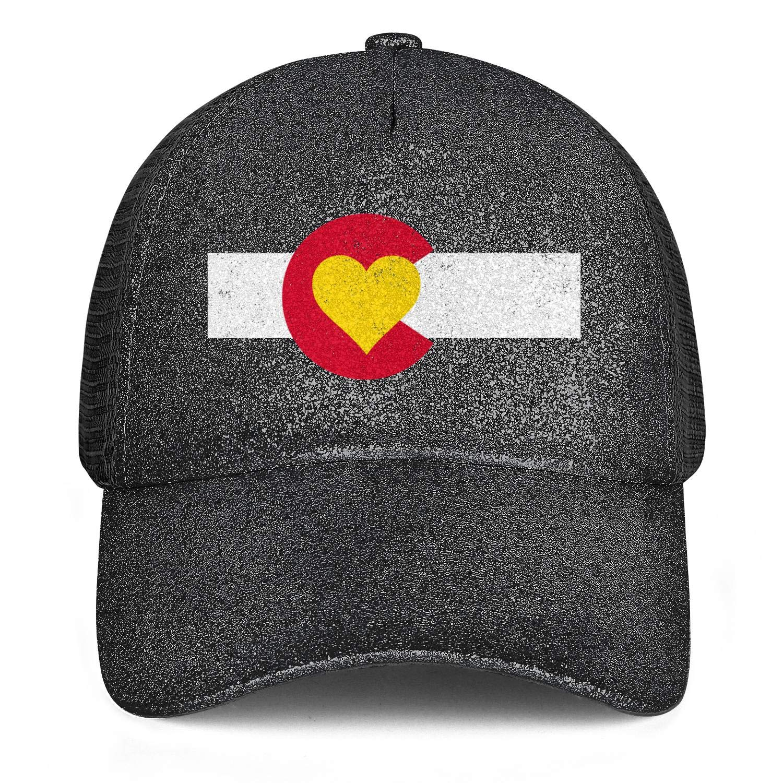 Colorado Love Flag Colorado on My MindWomenMeshTruckerPonytail Messy Cap Adjustable SnapbackSports Hat