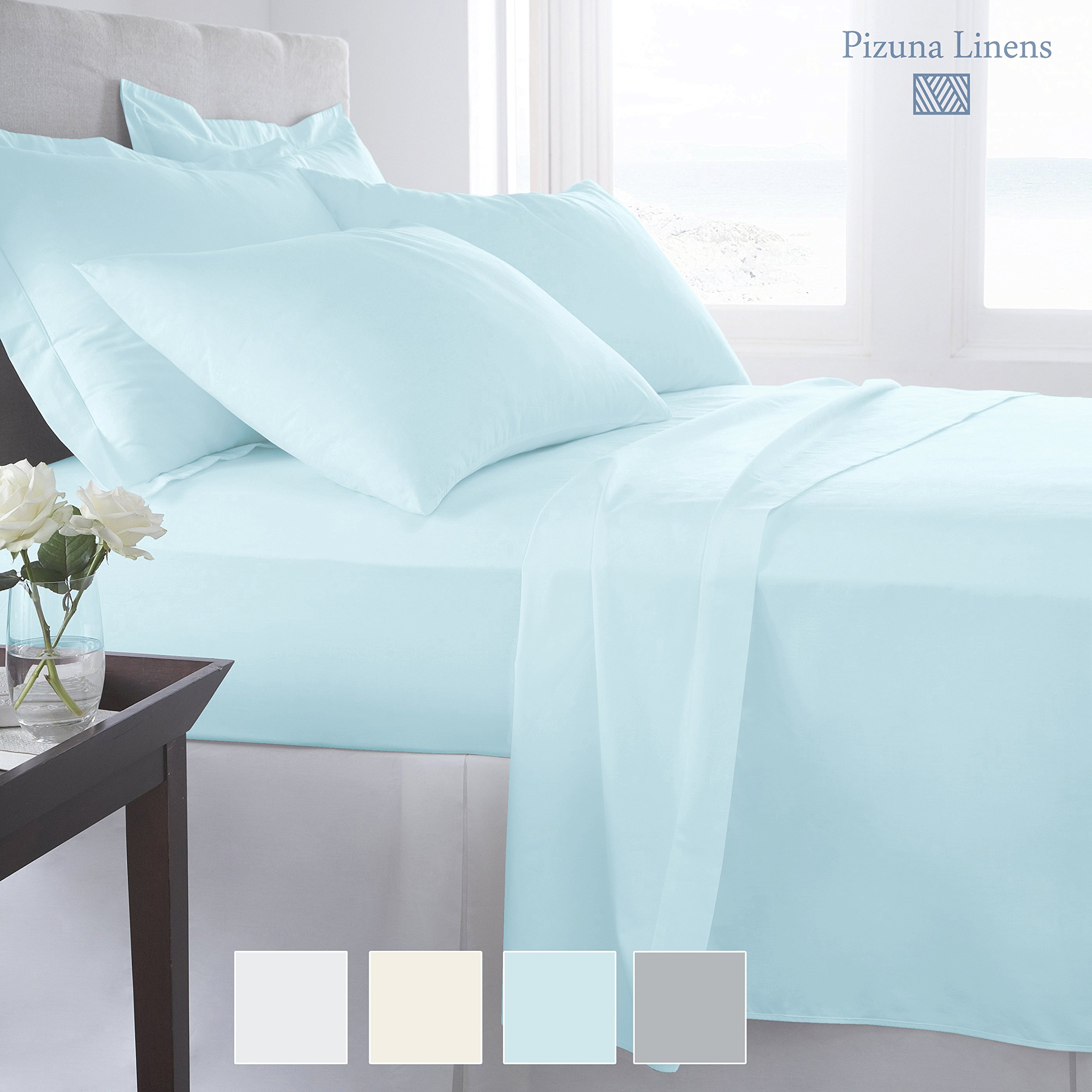 """Premium 1000 Thread Count 4pc Sheet Set, 100% Long Staple Cotton Light Blue Sheets, Luxurious Smooth Sateen Weave Bed Sheets fits upto 17"""" Deep Pockets (Baby Blue King Size 100% Cotton Sheet Set)"""