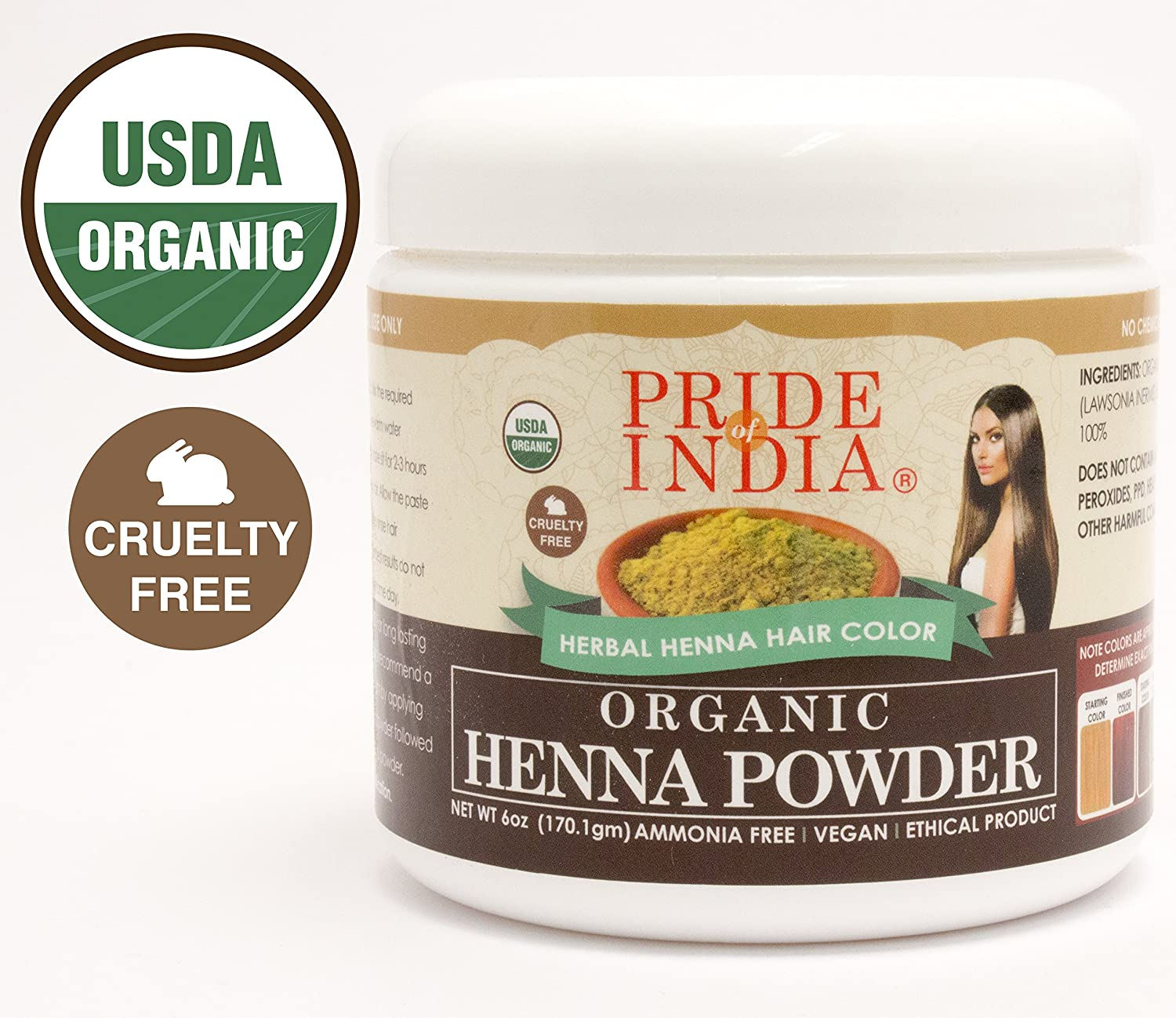 Pride Of India - Henna & Indigo Mix Hair Color Powder - Brown Color, Half Pound (8oz - 227gm) - 1 Pair Free Gloves Included